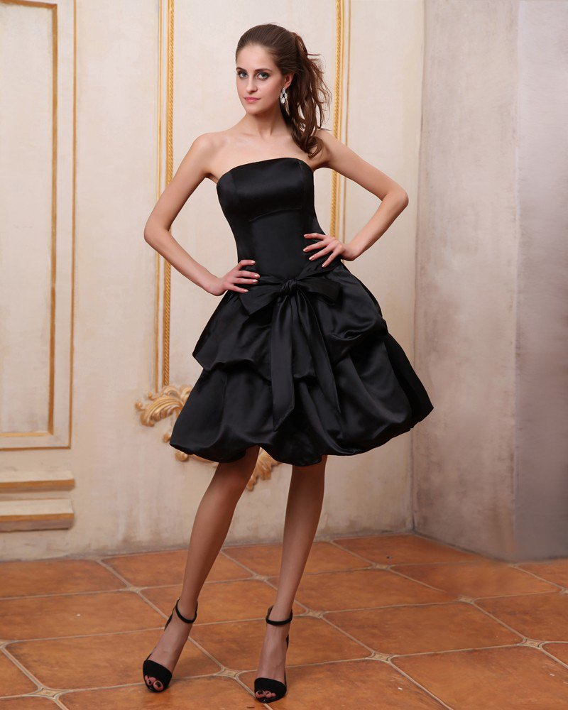 Strapless Sleeveless Ruffles Satin Knee Length Bridesmaid Dresses