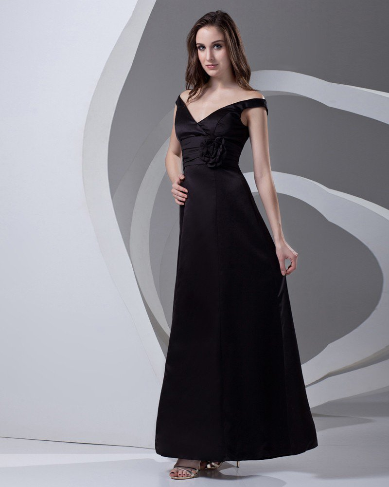 V Neck Pleated Ankle Length Satin Woman Bridesmaid Dress