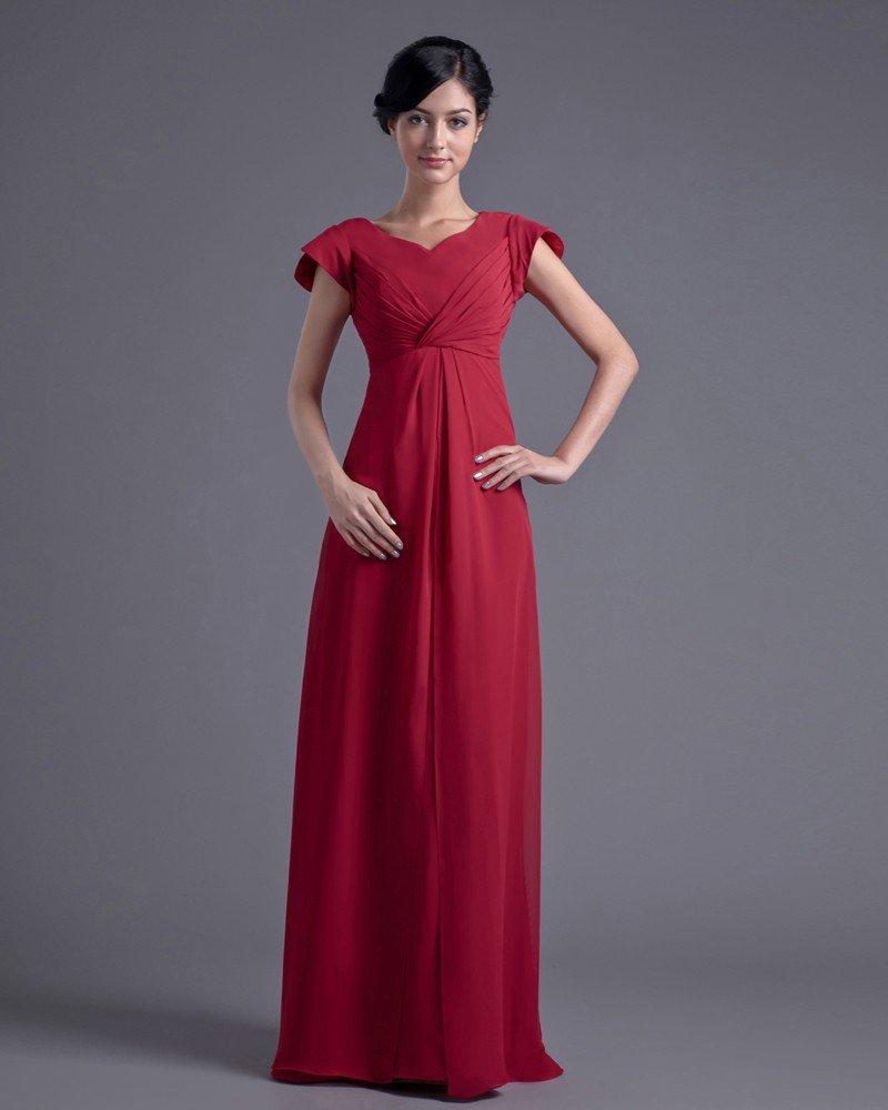 Fashion Chiffon Pleated V Neck Petal Floor Length Bridesmaid Dress
