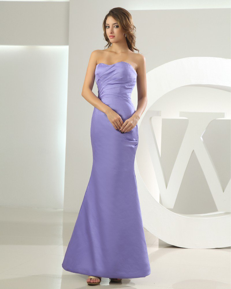 Silk Satin Sweetheart Ruffle Sleeveless Backless Zipper Floor Length Mermaid Bridesmaid Dress