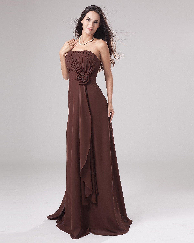Chiffon Empire Strapless Floor Length Women's Bridesmaid Dress