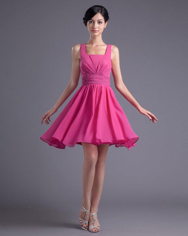 Fashion Chiffon Pleated Square Thigh Length Bridesmaid Dress