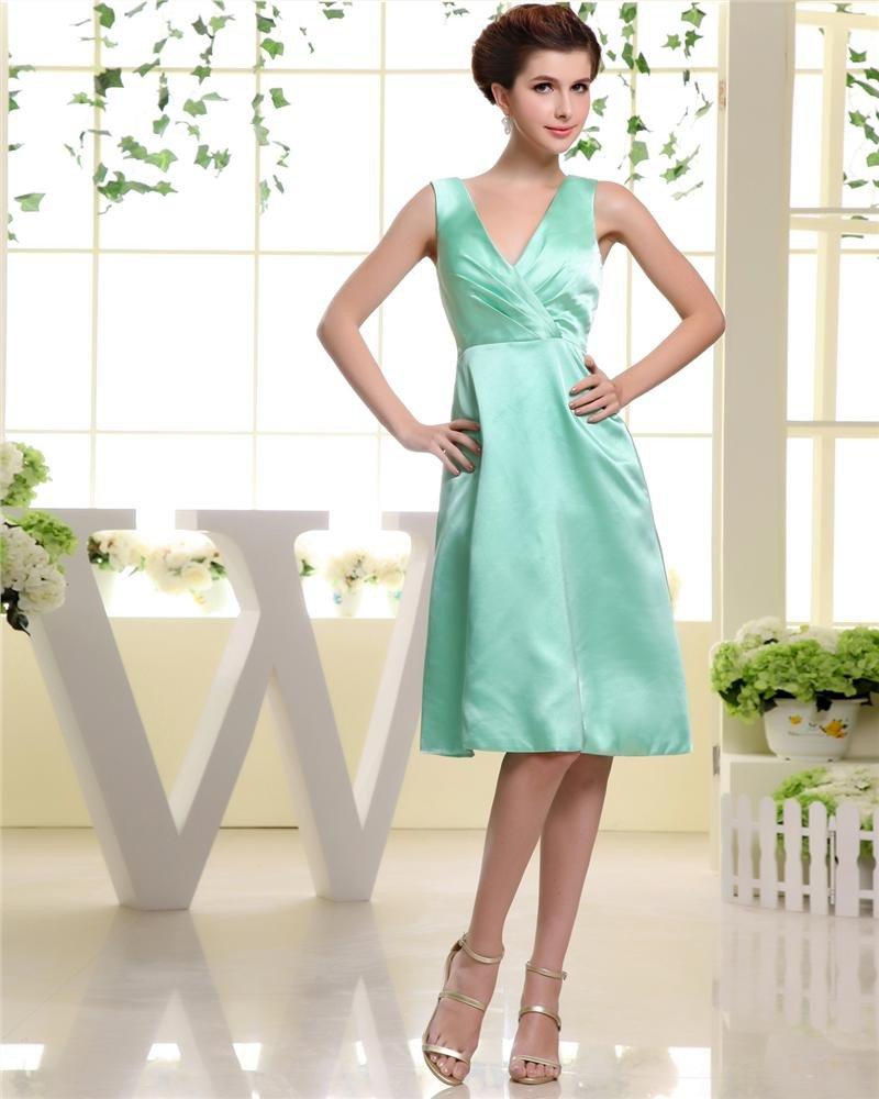 V Neck Sleeveless Zipper Pleated Knee Length Silk Elastic Silk Like Satin Woman Bridesmaid Dresses