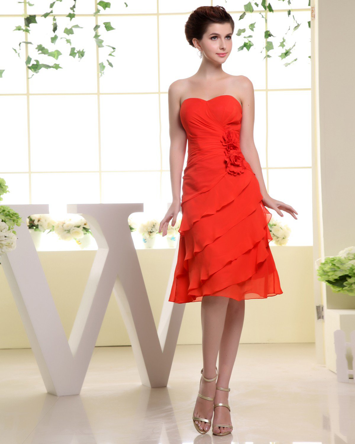 Sweetheart Sleeveless Zipper Pleated Knee Length Layered Chiffon Woman Bridesmaid Dresses