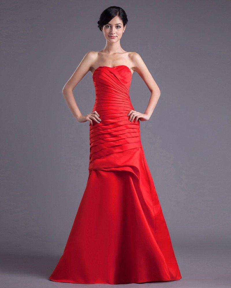Fashion Satin Pleated Sweetheart Floor Length Bridesmaid Dress