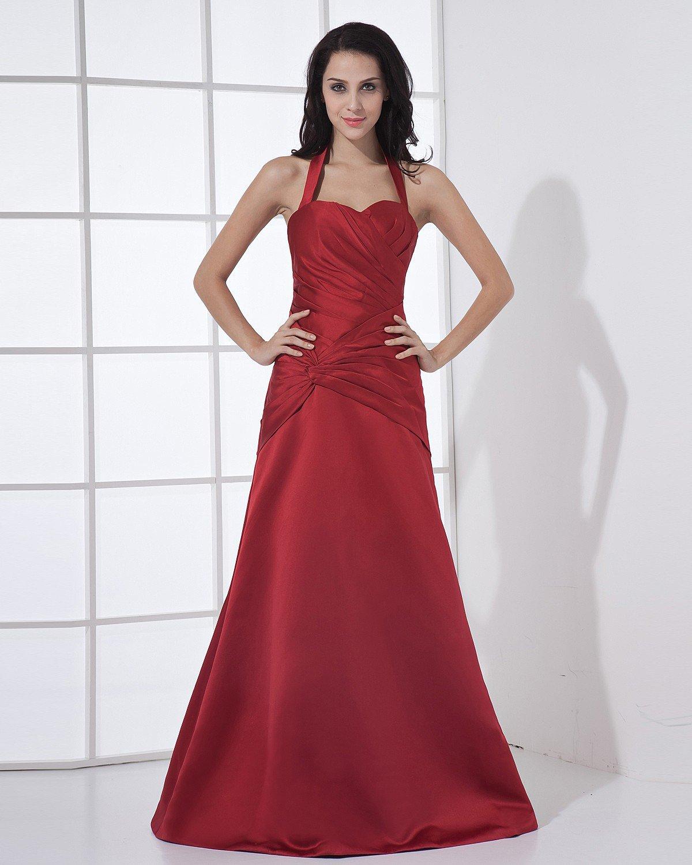 Halter Sleeveless Zipper Pleated Floor Length Satin Woman Bridesmaid Dress