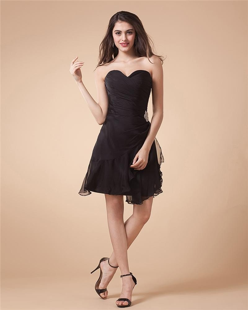 Beading Strapless Yarn Knee Length Bridesmaid Dresses