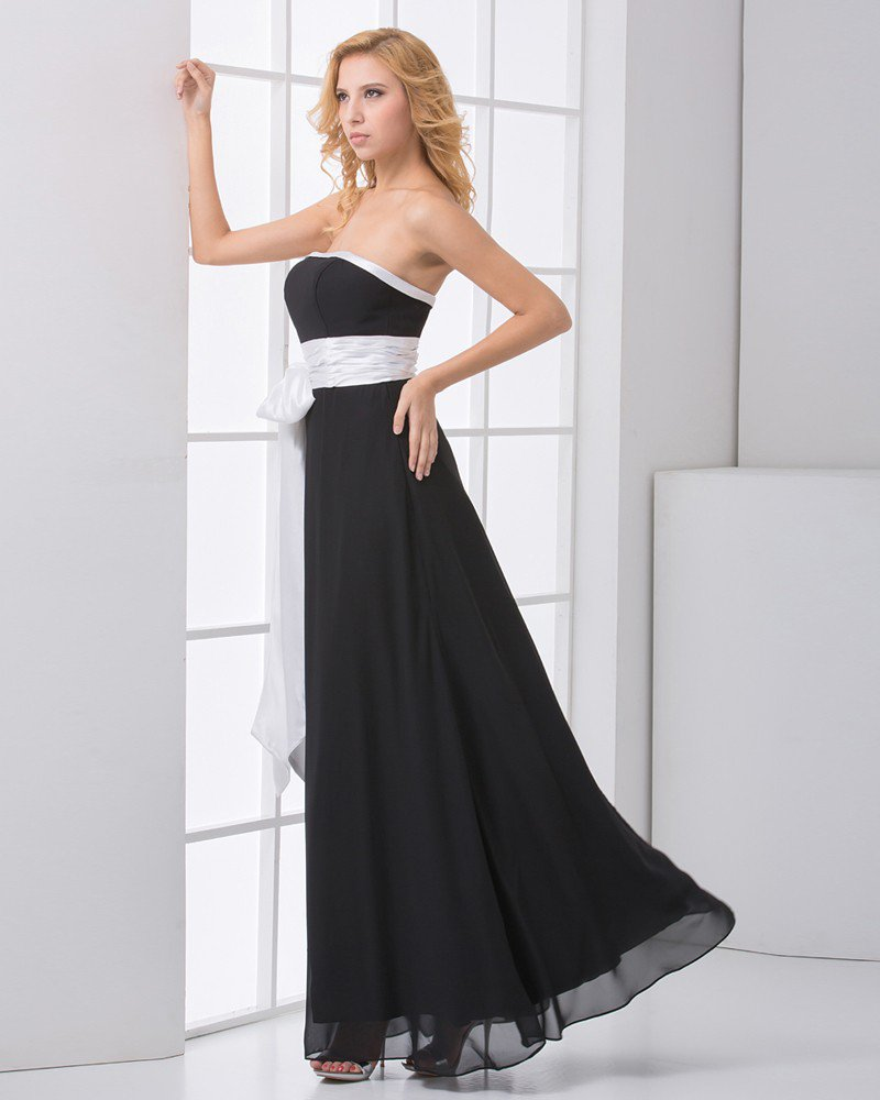 Fashion Chiffon Satin Pleated Bowknot Strapless Sleeveless Ankle Length Bridesmaid Dress