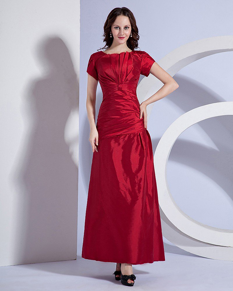 Taffeta Pleated Round Neck Floor Length Bridesmaid Dress