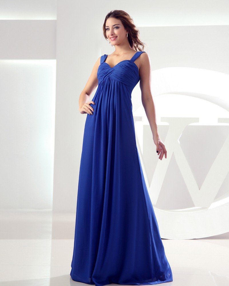 Sweetheart Sleeveless Pleated Zipper Floor Length Chiffon Woman Bridesmaid Dress