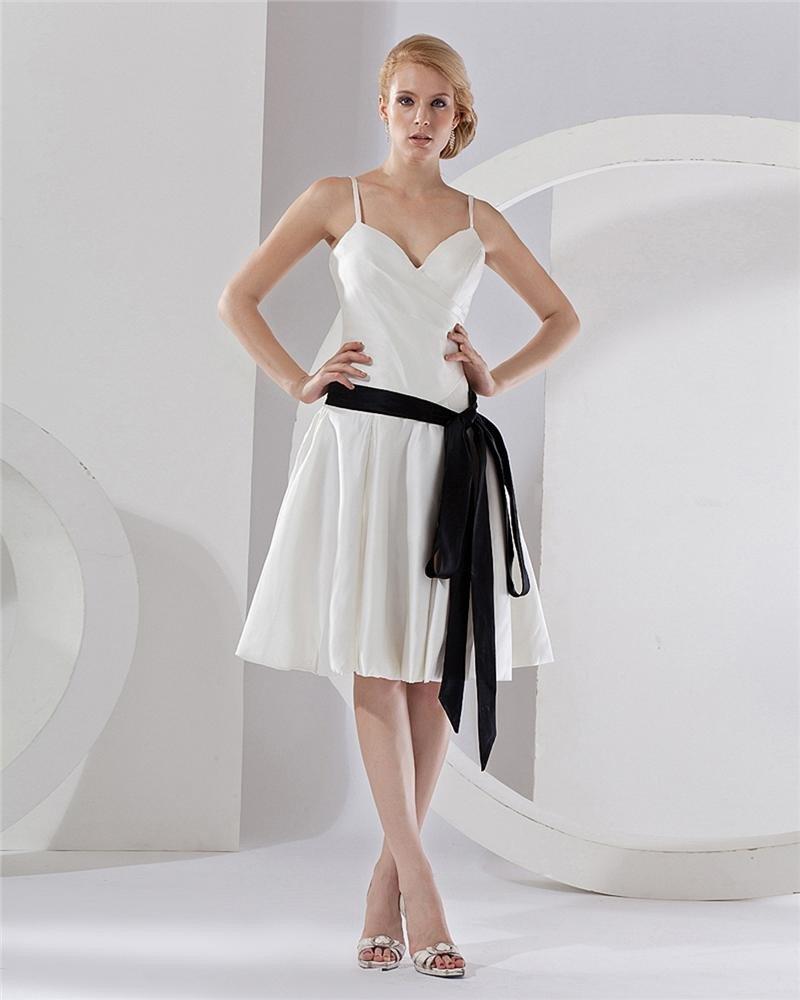 Strap V-Neck Tea-Length Taffeta Party Dress Bridesmaids Dresses