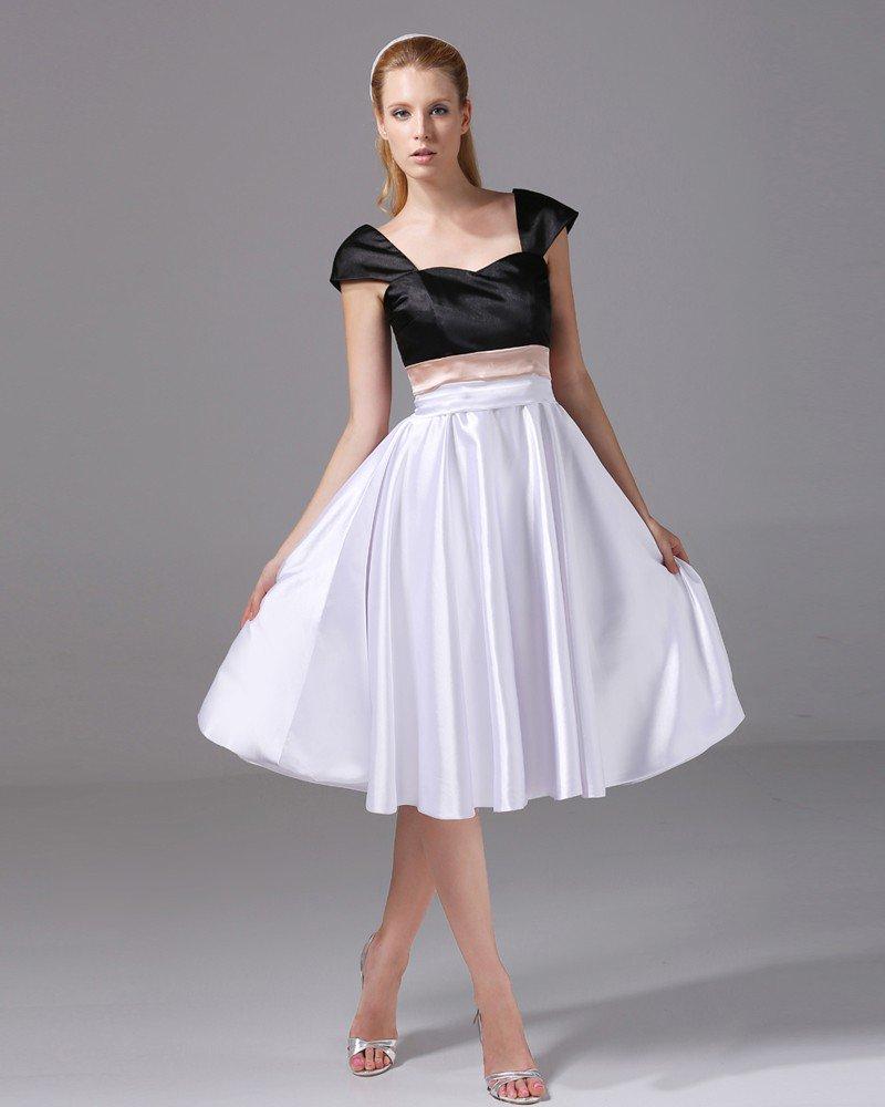 Imitation Silk Square Knee Length Color Matching Bridesmaid Dresses