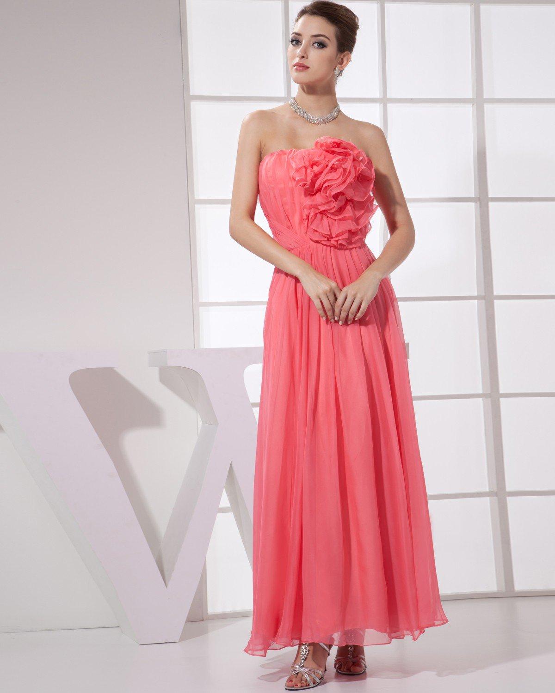Strapless Flower Pleated Sleeveless Zipper Ankle Length Chiffon Silk Woman Bridesmaid Dress