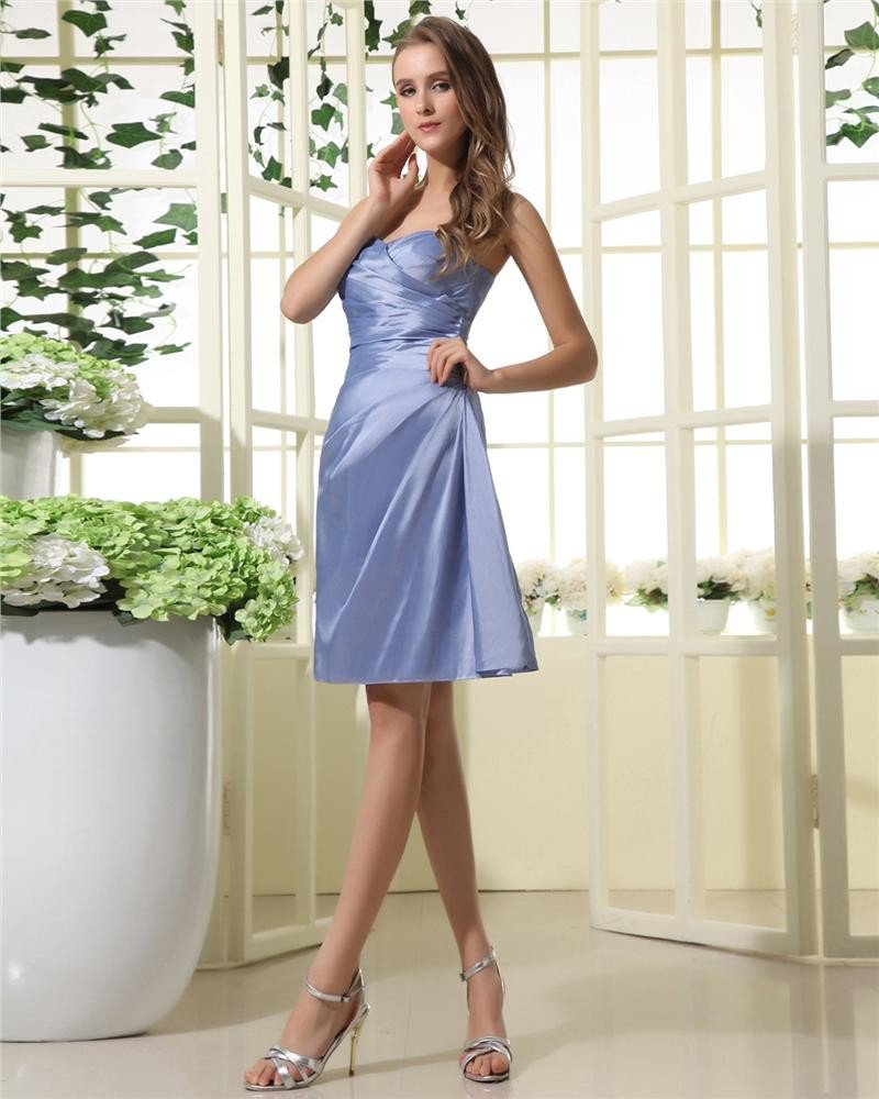 Stylish Taffeta Sweetbeart Neckline Knee Length Bridesmaid Dress Gown