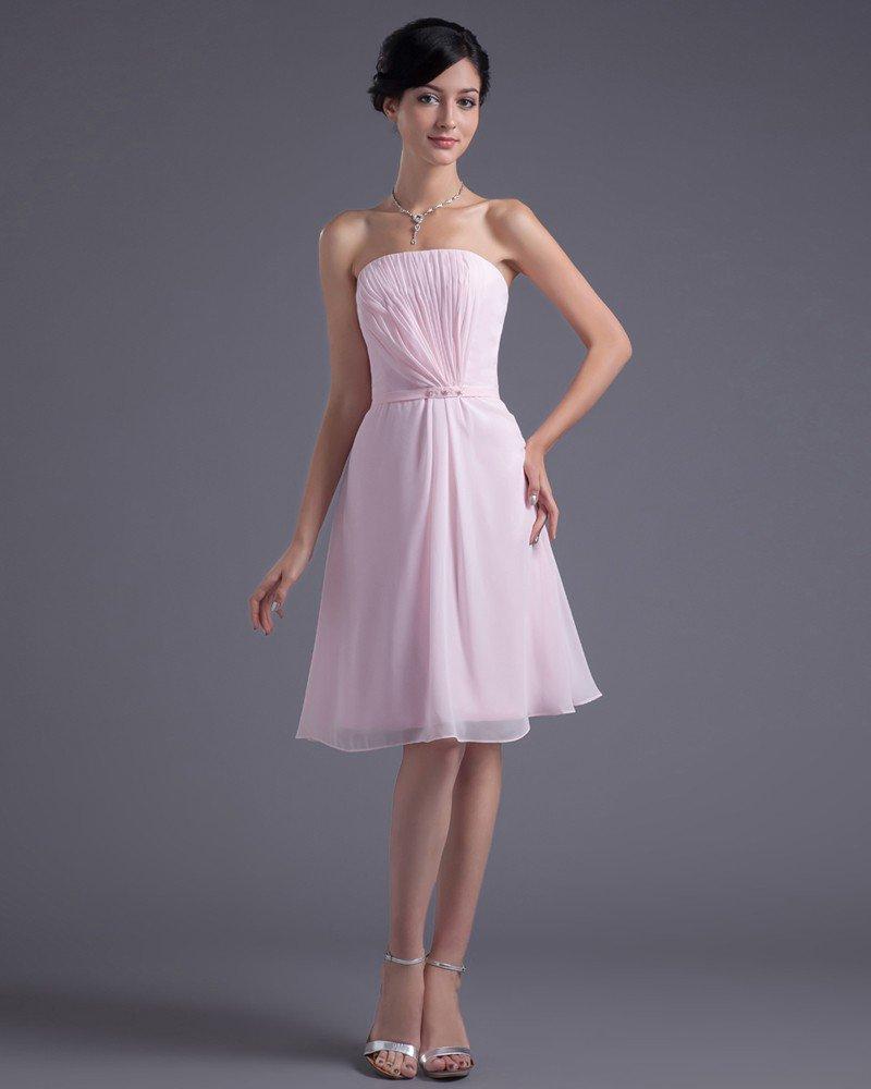Formal Style Strapless Knee Length Beading Pleated Chiffon Bridesmaid Dress