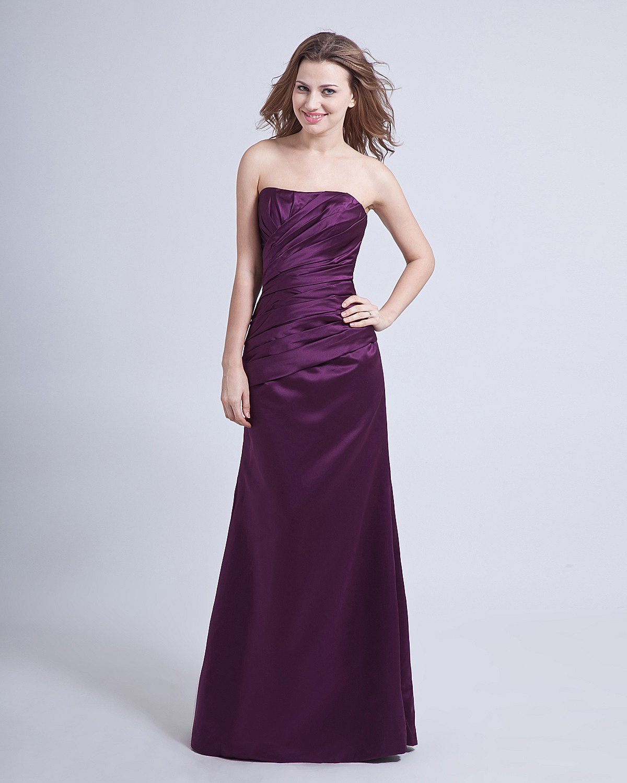 Taffeta Ruffle Strapless Floor-Length Bridesmaid Dresses