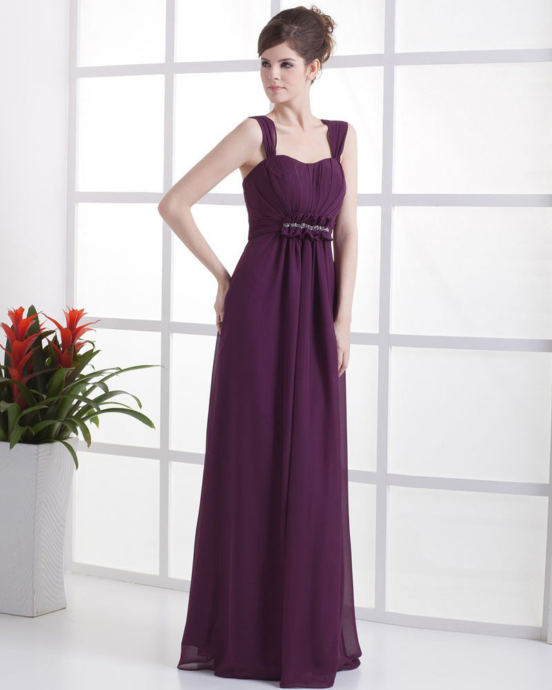 Ruffle Chiffon Shoulder Straps Floor Length Bridesmaid Dress Gown