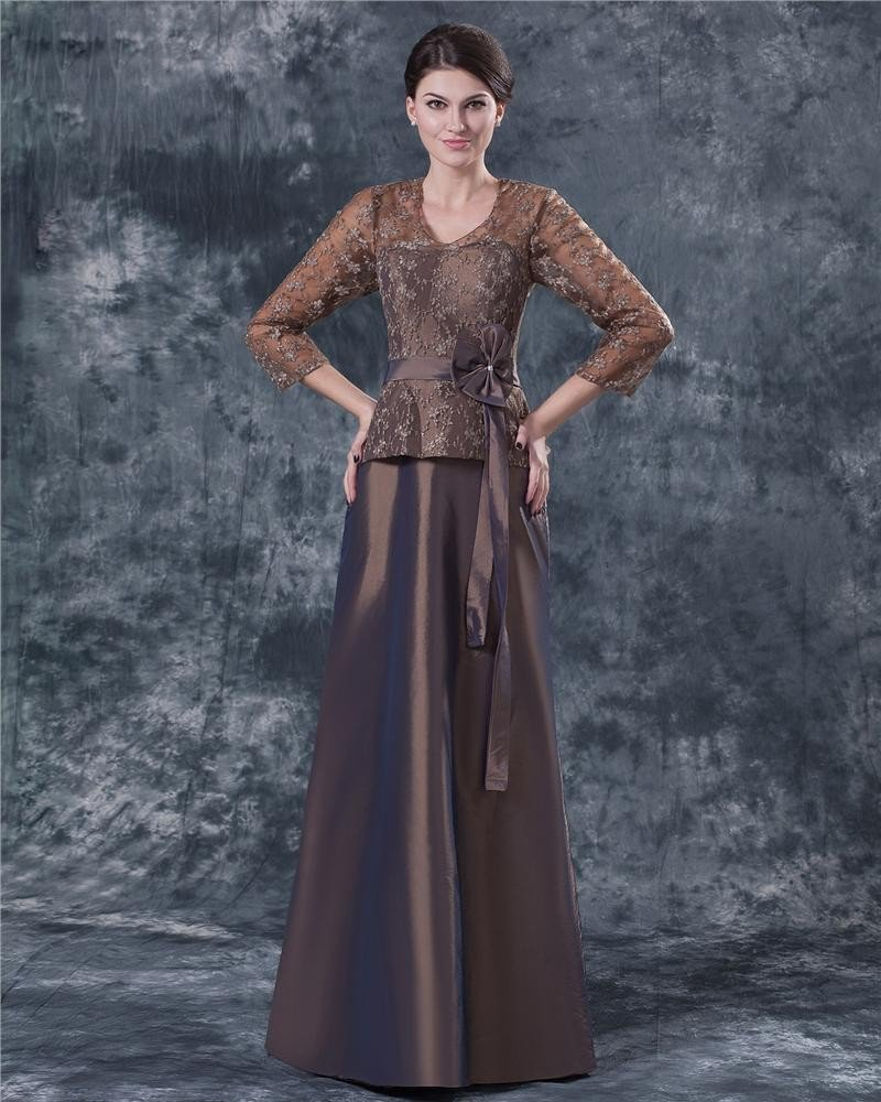 Comfortable V-Neck Floor Length Bowknot Taffeta Lace Paillette Mother of the Bride Dress
