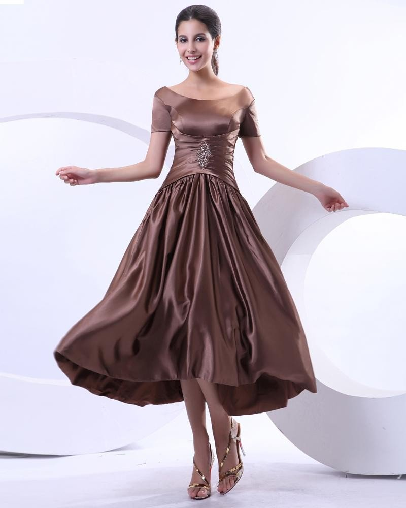 Satin Ruffle Round Neck Tea Length Mothers of Bride Guests Dress