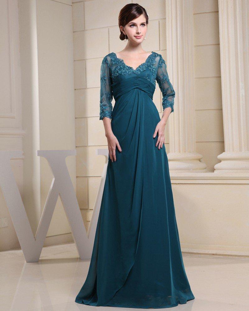 Chiffon Silk Beading Pleated V Neck Floor Length Mother of the Bride Dress
