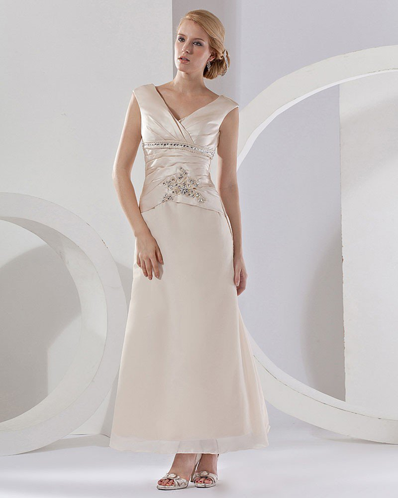 Satin Ruffle Shoulder Straps Floor Length Mothers Of The Bridal Dresses