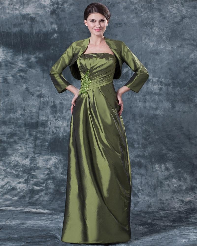 Applique Strapless Ankle-length Taffeta Mothers of Bride Special Guests Dress