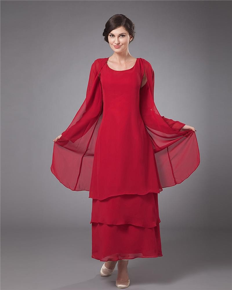Chiffon Round Neck Ruffle Layered Tea Length Mothers of Bride Guests Dresses