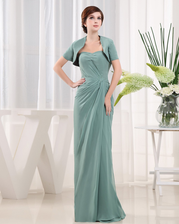 Sweetheart Short Sleeve Zipper Ruffle Floor Length Chiffon Mother of the Bride Dress