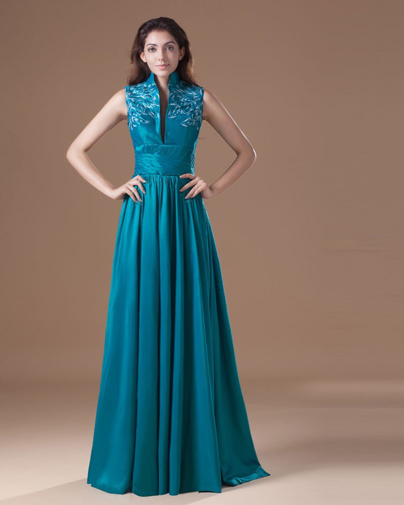 Taffeta Embroidered High Neck Floor Length Mother Of The Bride Dress