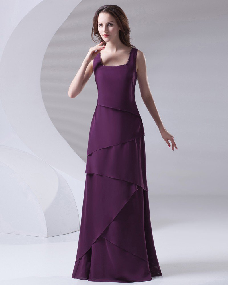 Shoulder Straps Pleated Floor Length Chiffon Mother of The Bride Dress