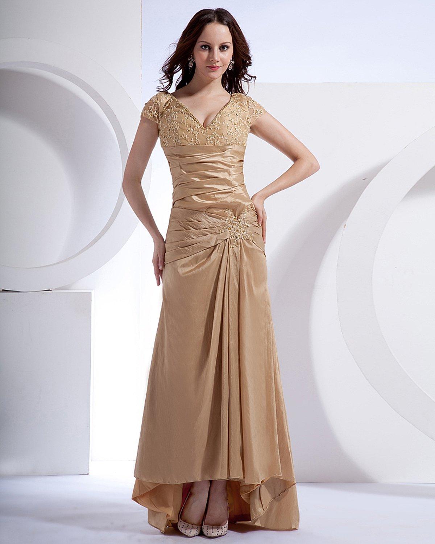 Absorbing V-Neck Floor Length Taffeta Applique Beading Mothers of Bride Special Guests Dress