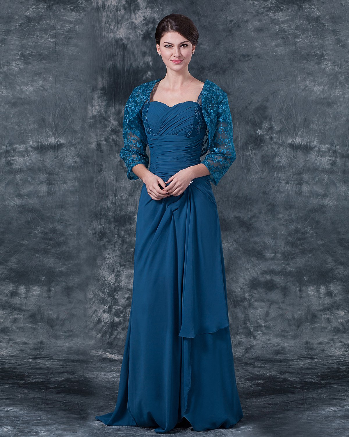 Chiffon Sweetheart Ruffle Floor Length Mothers of Bride Guests Dresses
