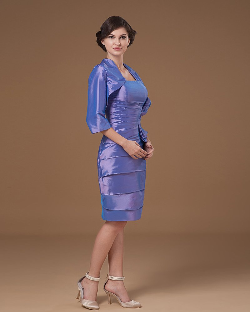 Stylish Taffeta Beading Strapless Knee Length Mothers of Bride Guests Dresses