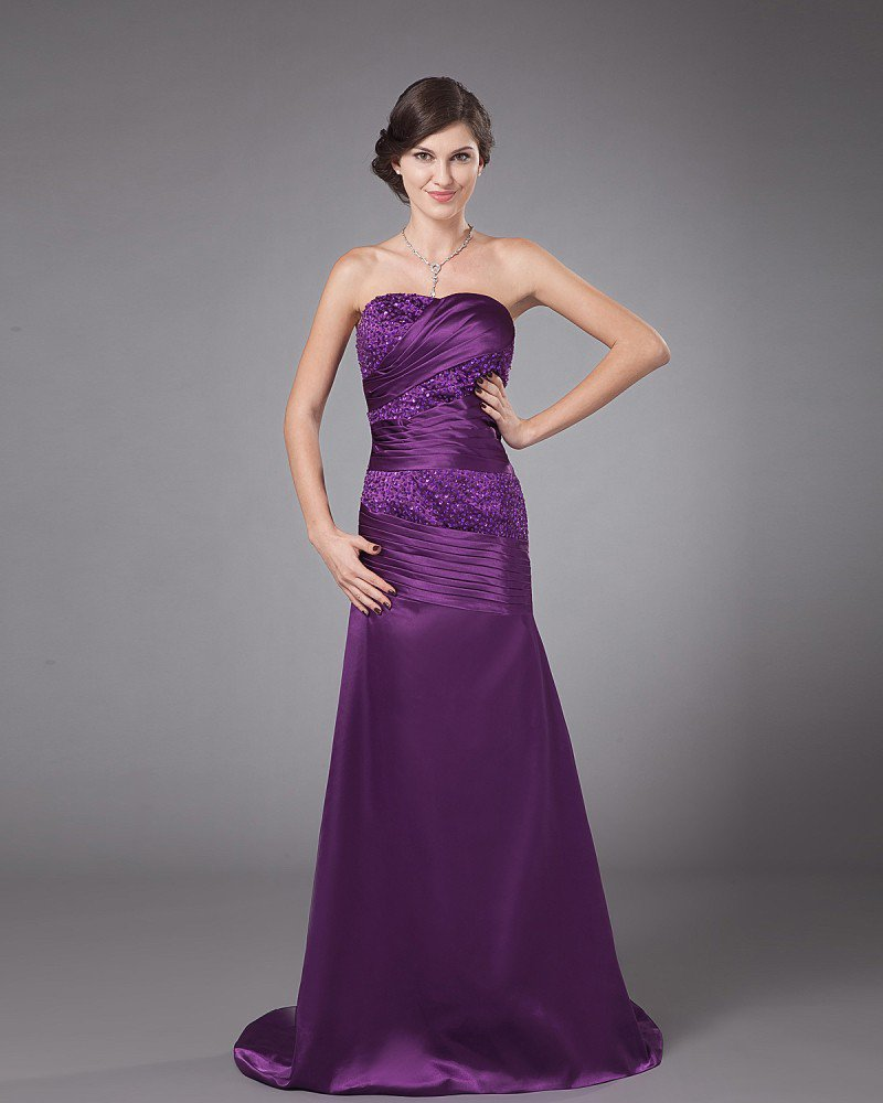 Strapless Charmeuse Ruffles Floor Length Mothers of Bride Guests Dresses