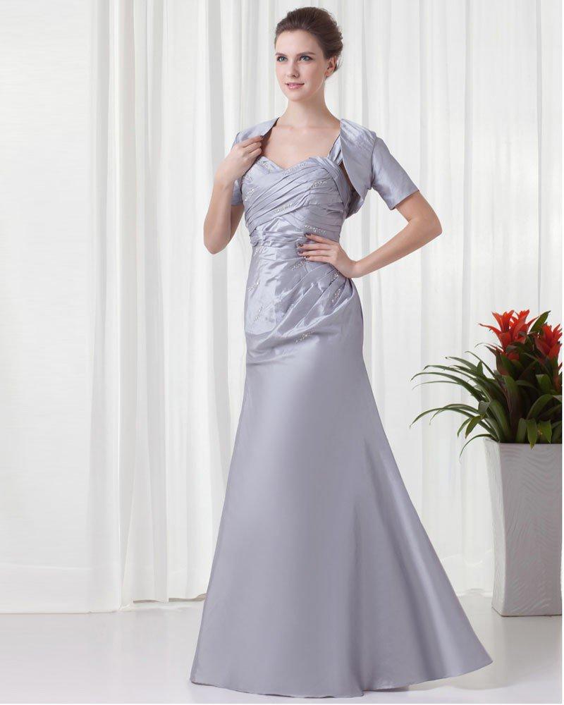 Shoulder Straps Pleated Wrap Floor Length Taffeta Mother of the Bride Dress