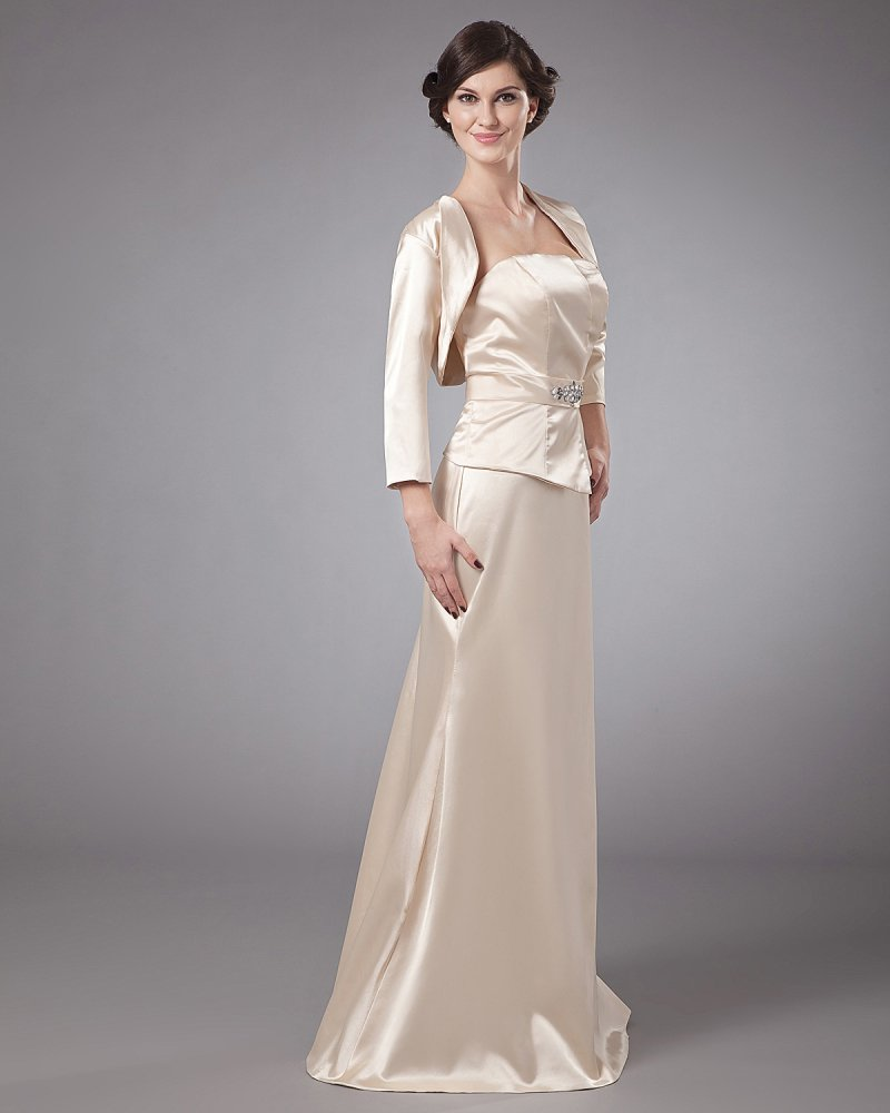 Portrait Floor Length Elastic Butyl Sewing Beads Pleated Special Guests Dresses