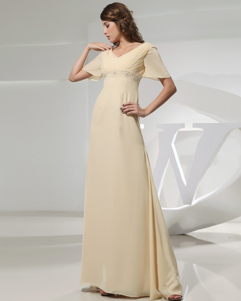 Petal Sleeve Floor Length V Neck Beading Pleat Chiffon Empire Mother Of The Bride Dress