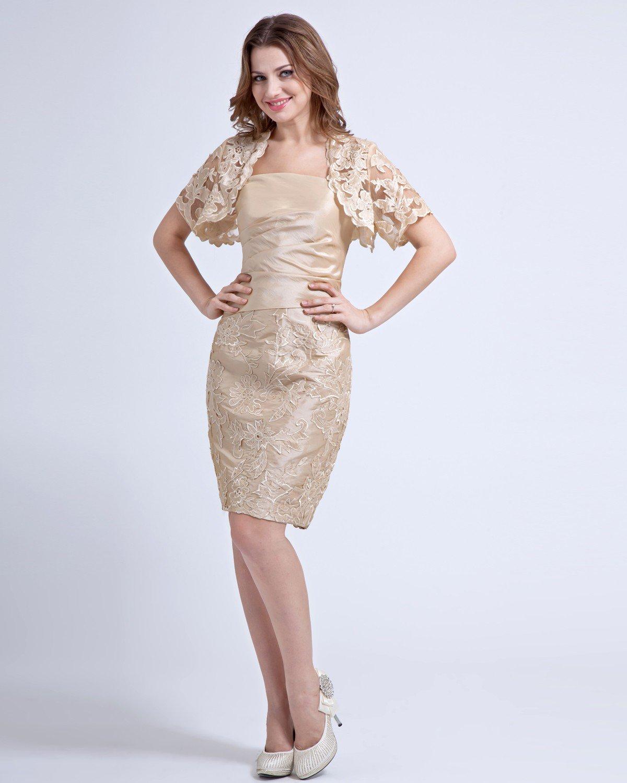 Square Lace Ruffle Knee Length Taffeta Bride Mother Dress