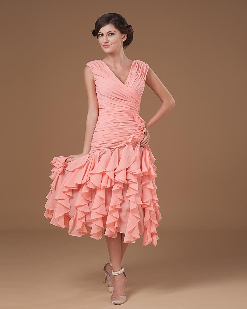 Yarn Ruffle V Neck Knee Length Mothers of Bride Guests Dress