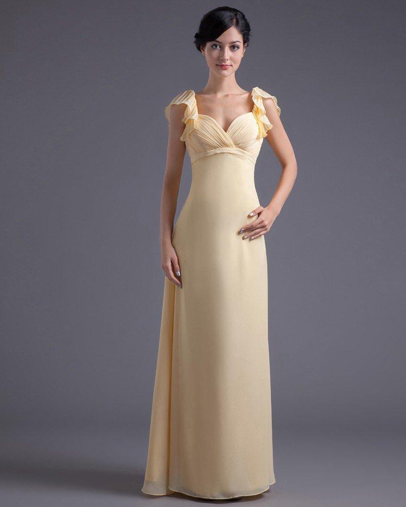 Floor Length Sweetheart Petal Sleeve Pleated Chiffon Mother Of The Bride Dress