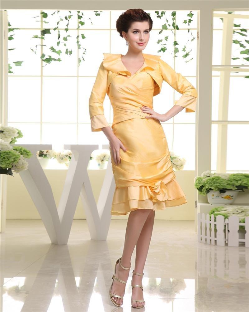 Strapless Neckline Pleat Silk Flowers Knee Length Empire Mother Of The Bride Dress