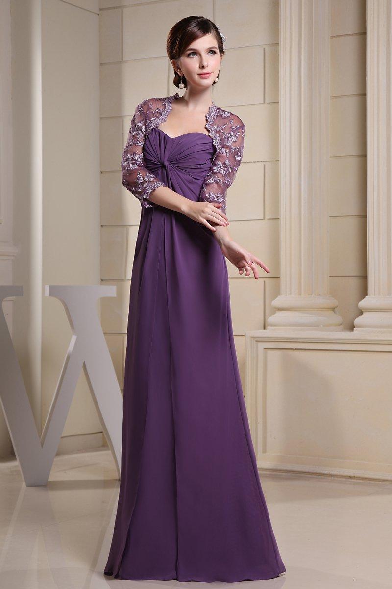 Chiffon Silk Ruffle Sweetheart Floor Length Mother of the Bride Dress