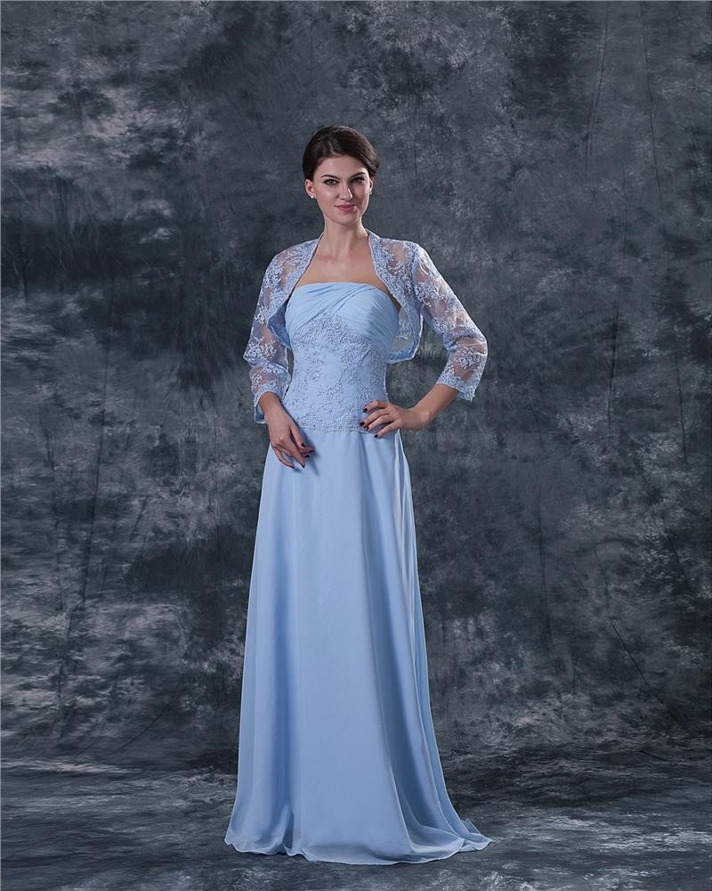 Chiffon Lace Embroidery Queen Anne Floor Length Mothers of Bride Guests Dress