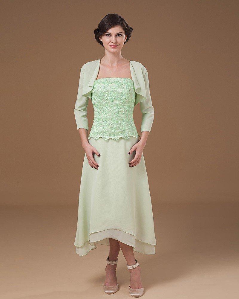 Absorbing Strapless Tea Length Applique Chiffon Mother of the Bride Dress