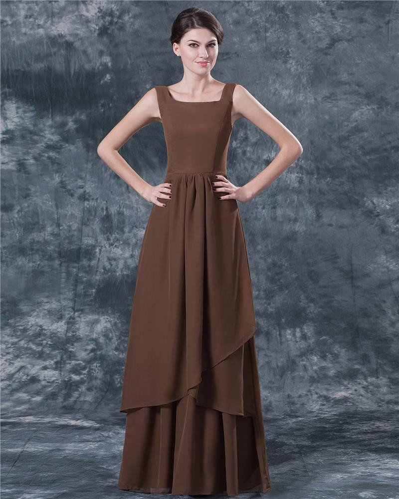 Fashion Ruffle Layered Chiffon V Neck Ankle Length Mothers of Bride Guests Dresses