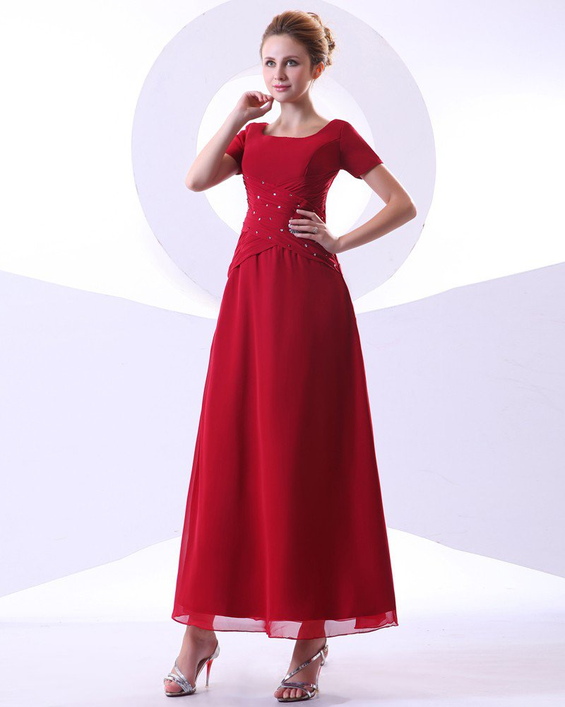 Chiffon Beading Pleated Ruffle Round Neck Ankle Length Mothers of Bride Guests Dresses
