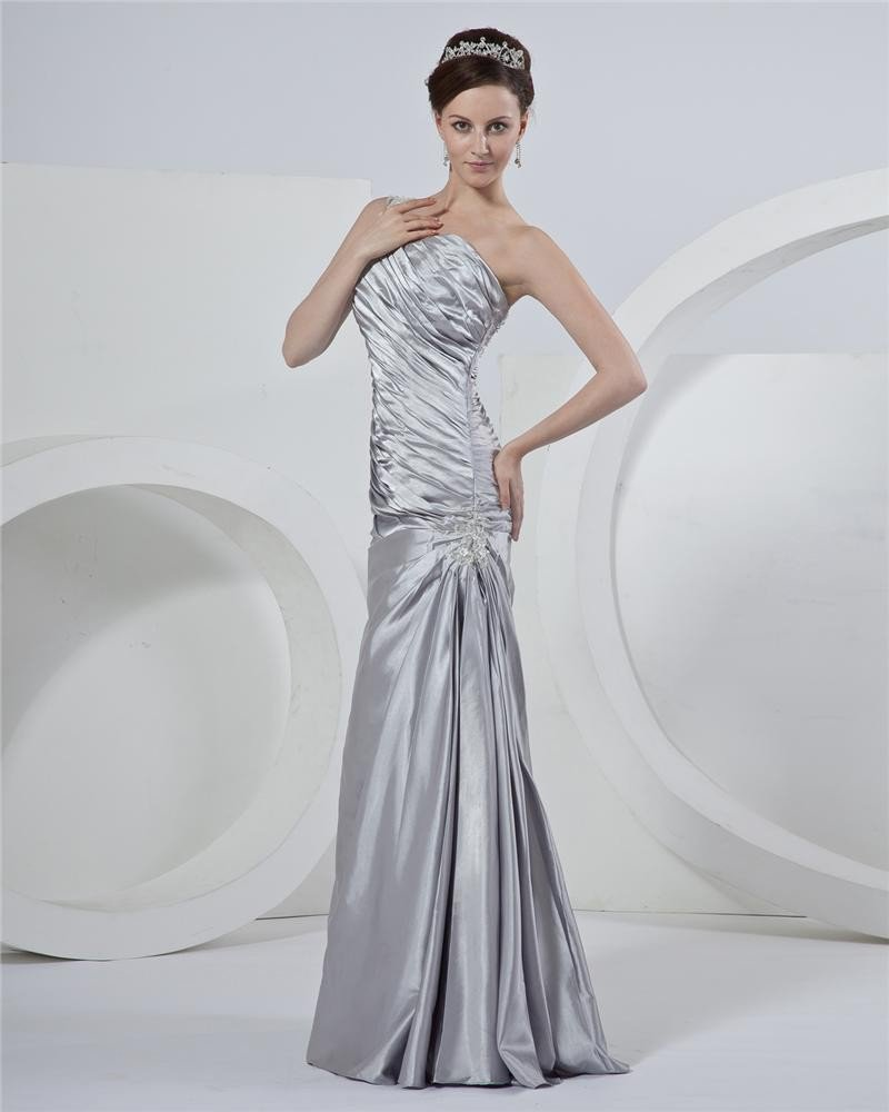 Satin One shoulder Beading Ruffles Mothers Of The Bridal Dresses