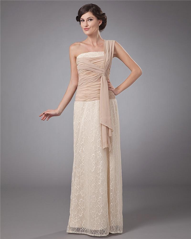 Lace Sash One Shoulder Floor Length Mothers of Bride Guests Dress