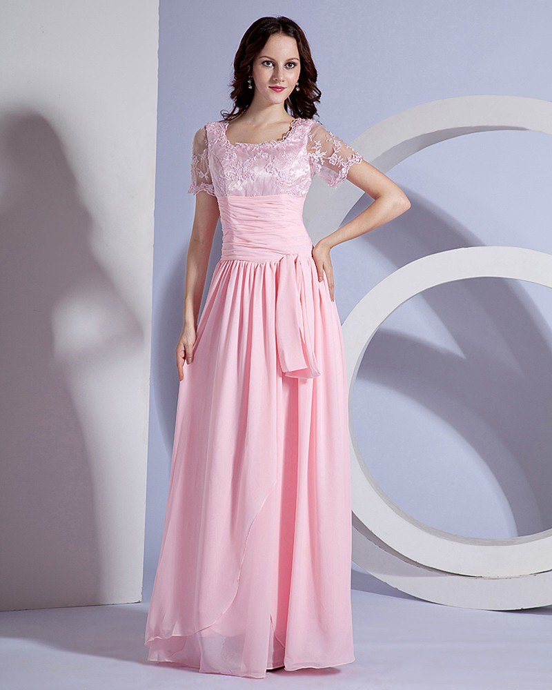 Designer Sash Embroidery Floor Length Mothers of Bride Guests Dresses