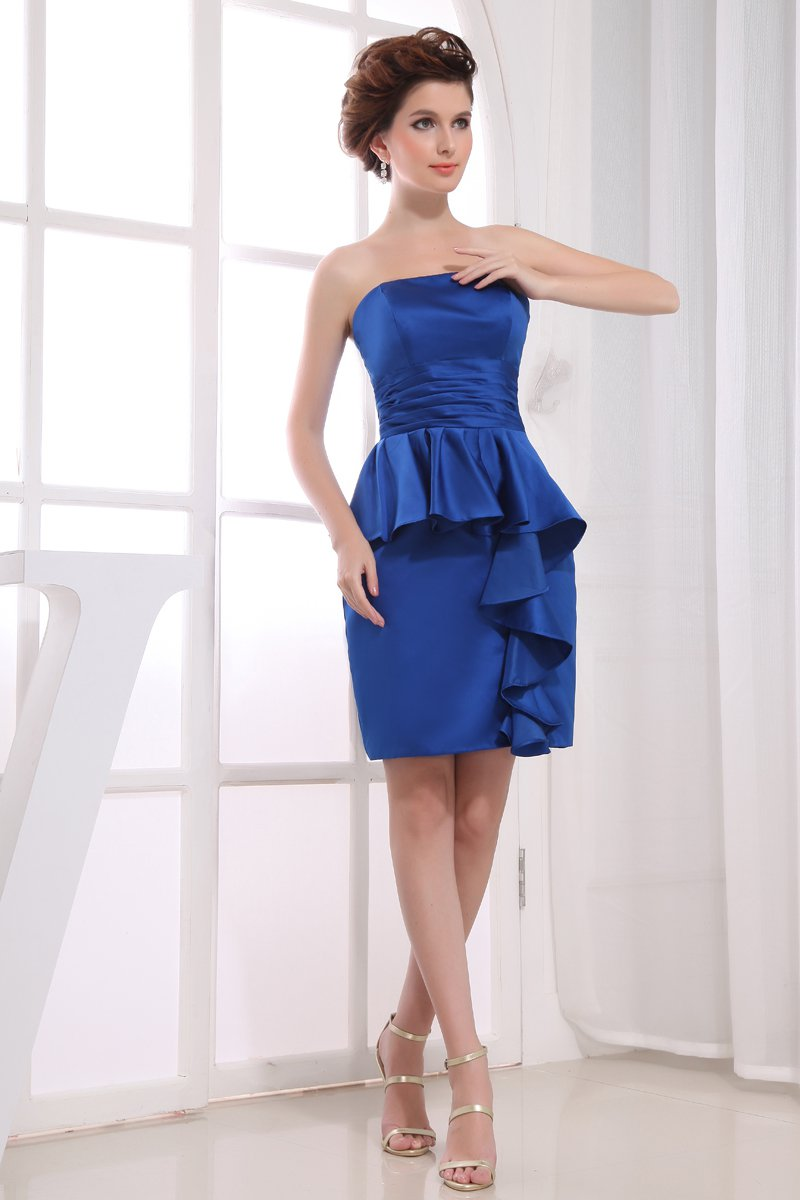 Strapless Neckline Thigh Length Pleated Ruffles Charmeuse Mother Of The Bride Dress